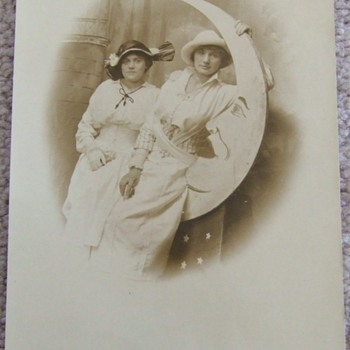 """RPPC of women with """"Man in the Moon"""" prop - Photographs"""
