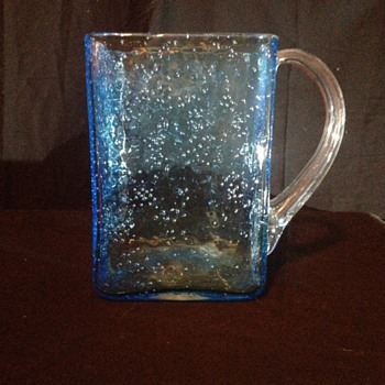 Hand Blown Blue Bubble Pitcher/Vase - Art Glass