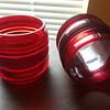 pair of red glass railroad crossing gate light lenses