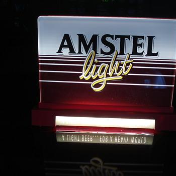 VINTAGE AMSTEL BEER LIGHT UP ADVERTISING SIGN & MIRROR WITH CHALKBOARD!!