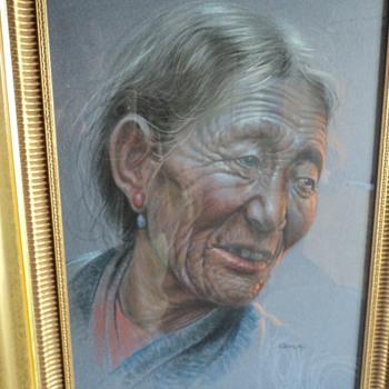 Tibetan Old Woman by Goray Douglas, 1963