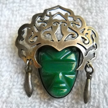 MEXICO STERLING FACE MASK BROOCH - Fine Jewelry