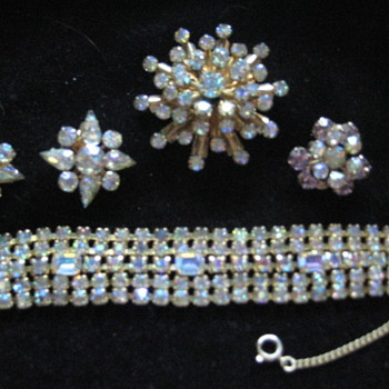WEISS Bracelet Brooch And Earrings  - Costume Jewelry