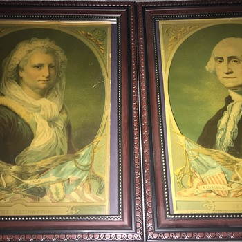 1880 H. Hallett prints of George and Martha Washington  - Fine Art
