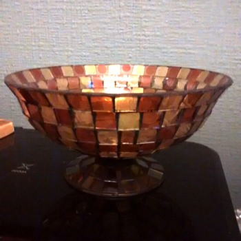 Tiffany style bowl, uneven sided bowl with glass mosiacs tiles and a lead structure type which they are connected too.