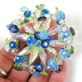 Vendome aurora borealis floral brooch - Costume Jewelry