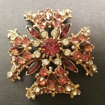 Florenza Maltese Cross brooch  - Costume Jewelry