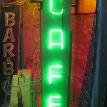 Vintage 1950's CAFE Antique Neon Sign - Signs
