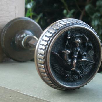 Brass cherub riding eagle doorknobs  - Tools and Hardware