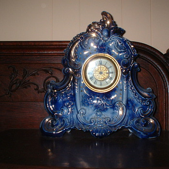 Flow Blue Porcelain Clock