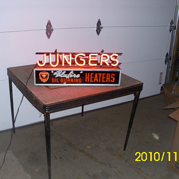 Jungers oil heater advertising neon - Signs
