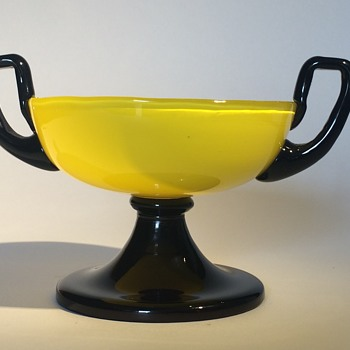 Czech Bohemian Yellow Tango 2 Handled Tazza - Art Glass