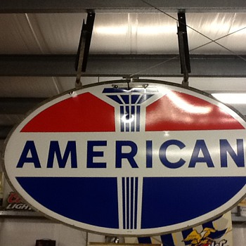 American gas sign with original frame. - Petroliana