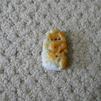 Vintage Chinese Jade Pendant Carved Dragon