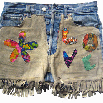 Eric's 1960's Summer of Love Signed Patched Denim Psychedelic Shorts - Mens Clothing