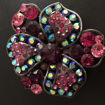 Pink,purple and blue glass costume brooch - Costume Jewelry