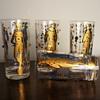 Vintage Culver Glassware Mardi Gras Pattern 22K Gold Jester Jewelled Drinking Glasses Vintage Culver Barware Mid Century Bar