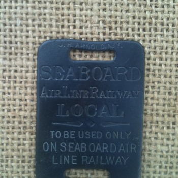 SEABOARD AIR LINE RAILWAY  Old brass luggage tag - Railroadiana