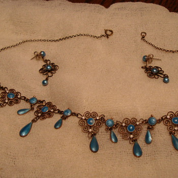 antique necklace and earring  - Costume Jewelry