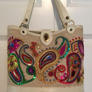 Vintage Heavy Woven, Wood, Non Precious Jewel Purse - Bags