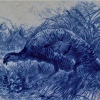 "Early Cauldon Flow Blue Turkey Platter 21.5"" x 18.5"" - China and Dinnerware"