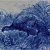 "Early Cauldon Flow Blue Turkey Platter 21.5"" x 18.5"""
