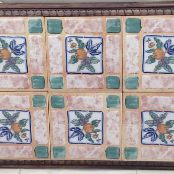 6 Tile Ceramic Wooden Frame - Pottery