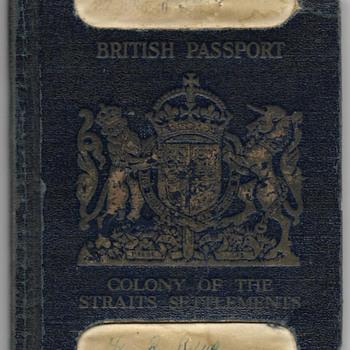 1940 British colony of Singapore WW2 pilots passport - Paper