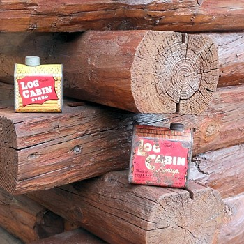 Log Cabin Syrup Tin and Bank - Advertising