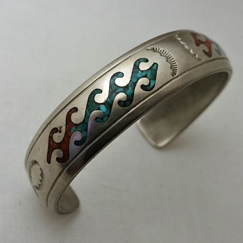 Nakai turquoise, coral chip inlay cuff - Fine Jewelry