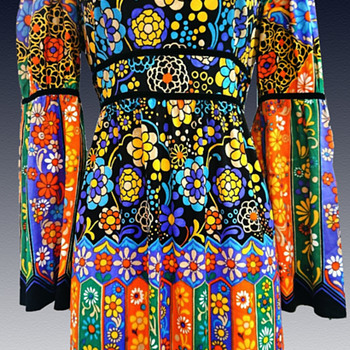 Psychedelic VAN ALLAN 1970s Maxi Dress from London.  - Womens Clothing