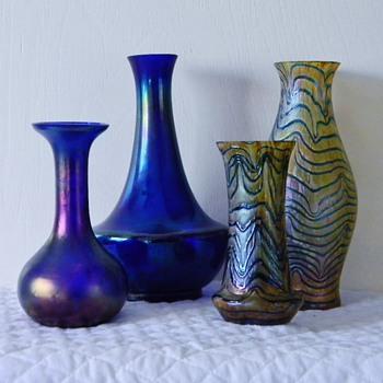 Kralik's In Cobalt Blues Glatt, Mica, Blue on Gold's Vases  - Art Glass