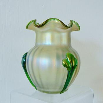 Nouveau Kralik Tri Claw Ruffed Rim Green/White Opalescent Iridescent Vase - Art Glass