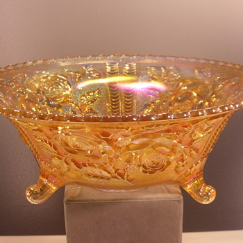 "Imperial Glass - Carnival Glass Bowl - Lustre Rose - 11"" - Glassware"
