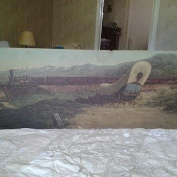 Unknown railroad train art picture