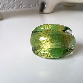 Beautiful Murano Aventurine Green Glass Ring Thrift Shop Find $1.50 - Art Glass