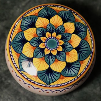 Italian Covered Bowl - Trinket Dish - Pottery