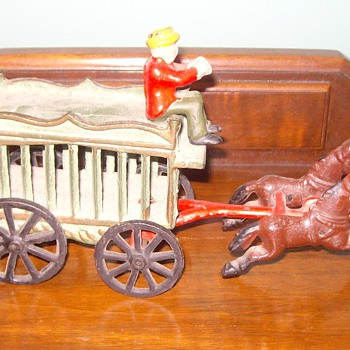 Iron Toy Wagon, horses & driver - Folk Art