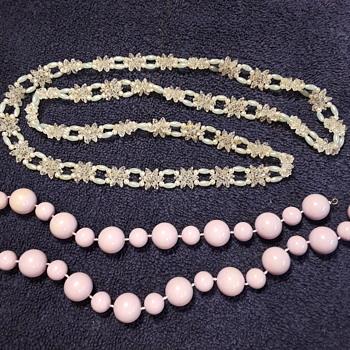 two plastic beaded necklaces - Costume Jewelry