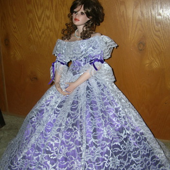 "Porcelain Doll-25"" Tall on Stand - Dolls"