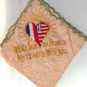 FRENCH HANDKERCHIEF WW2 SOUVENIR 1945