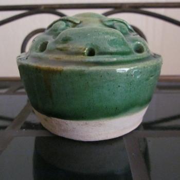 Antique  Rare Foo Dog Type Incense Stick Burner Green Glazed - Asian