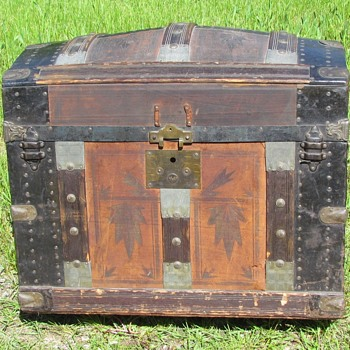 "1870's 28"" Leather & Zinc Dome Top Trunk     - Furniture"