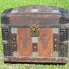 "1870's 28"" Leather & Zinc Dome Top Trunk"