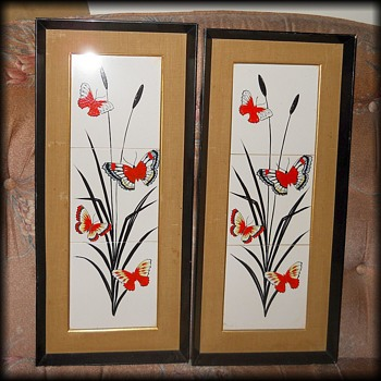 Vintage Pair of TILE PICTURES  - Fine Art