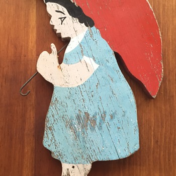 Girl With Red Umbrella - Painted Wood Folk Art - Folk Art