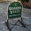 Quaker State Tombstone Sign & Origianl Curb Stand - Before & After Pics