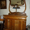 Outstanding Antique Tiger Oak Hotel Washstand Serpetine Front