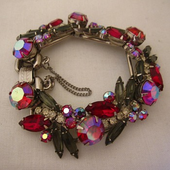 60's red/grey/clear and AB rhinestone bracelet - Costume Jewelry