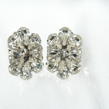 Weiss Rhinestone Earrings - Costume Jewelry